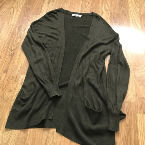 Pink Rose Sweaters - Pink Rose Olive/Army Green Cardigan-Large